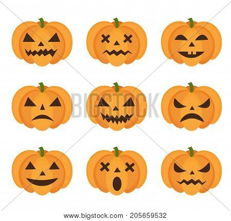 Halloween pumpkin icon set with emoji. Scary emoticons pumpkins collection. Isolated on white background. Vector illustration, clip-art