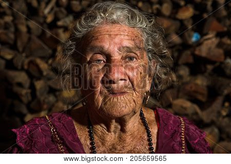 January 26, 2015 San Pedro La Laguna: Portrait Of A Very Old Tzutujil Maya Woman In The Small Indige