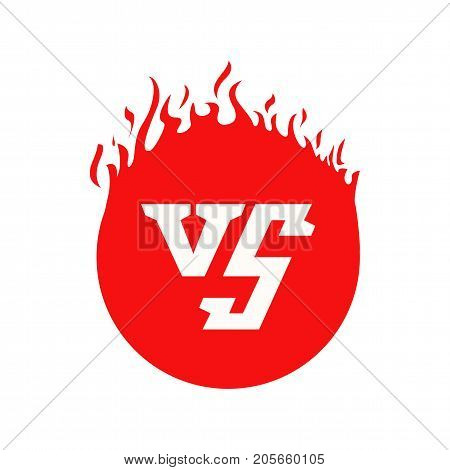 Versus text and circle with fire frames. Flaming VS symbol for duel and confrontation. Flat illustration isolated on white background