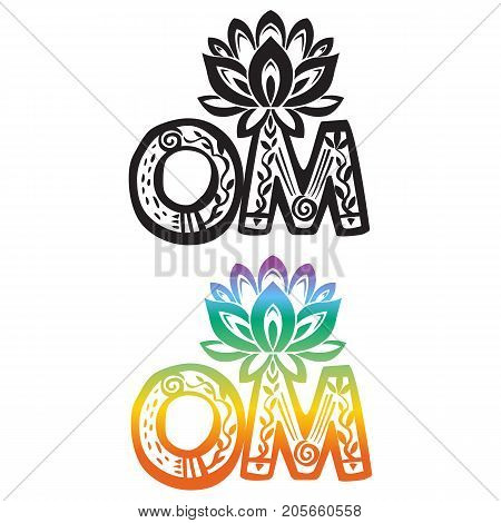 Word OM with vector lotus flower silhouette