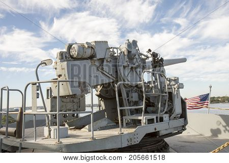 Vintage Wwii Gun Mounted On Deck Of  Liberty Ship
