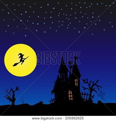 Halloween Night Background With Witch And Castle