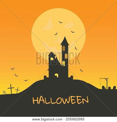 Halloween Scary Castle On Full Moon Background