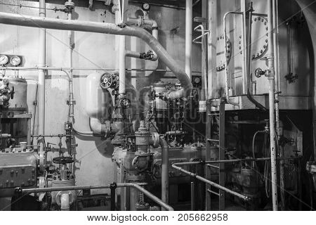 Steam Engine Room In Liberty Ship In Blackand White