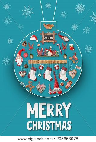 Merry Christmas and Happy New Year Greeting Card - Chalk Christmas Ball with Gifts and Xmas Toys on Blue Background.