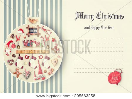 Merry Christmas Greeting Card - Drawn Christmas Ball with Gifts and Xmas Toys on Retro Background. Place for Text.