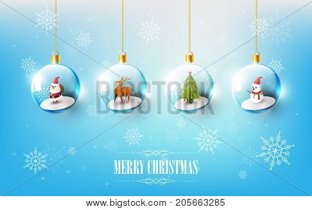 Merry Christmas with Santa Claus, Snowman and Reindeer in Christmas ball, Hanging Christmas ball on blue Snowflake background, vector illustration