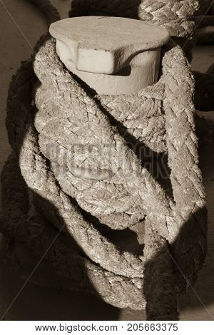 Rope On Coil Of Vintage Ship
