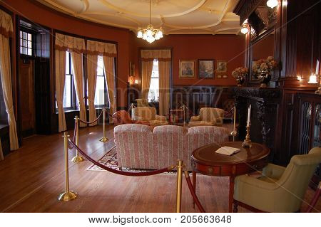 THOUSAND ISLANDS, NY, USA - OCT. 17, 2009: Decorated Room in Boldt Castle, Town of Alexandria, Thousand Islands, Upstate New York, USA.