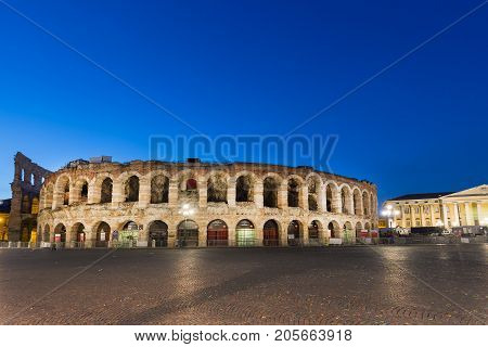 VERONA ITALY - SEPTEMBER 2017: Ancient roman amphitheatre Arena in Verona Italy at night blue hour sunrise