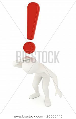 3D Man Under Falling Exclamation