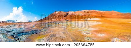 Panoramic view of geothermal active zone Hverir on Iceland near Myvatn lake poster