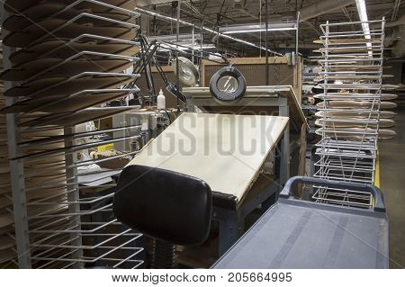 Drafting Table With Racks Of  Templates In Factory