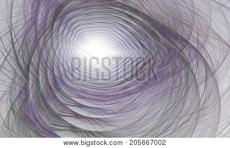 Computer-generated fractal abstraction of tunnel to the light. Computer generated fractal design. Abstract fractal color texture. Glowing spiral rainbow tunnel