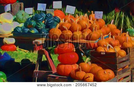 A digitally enhanced photo of an autumn harvest table piled high with pumpkins squash and gourds for sale