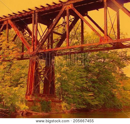 A digitally enhanced photo of an old railroad trestle spanning the river