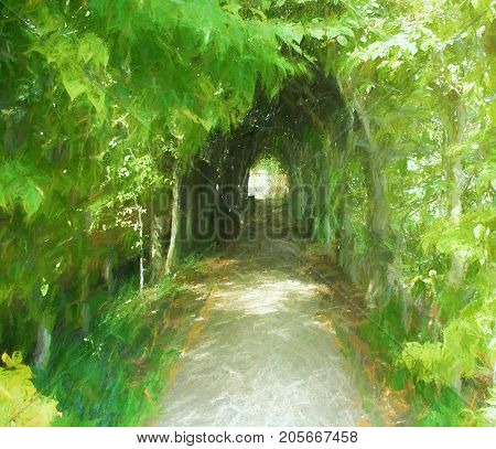 A digitally enhanced photo of the path through an alleyway of green foliage