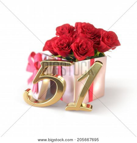 birthday concept with red roses in gift isolated on white background. 3D render - fifty-first birthday. 51st