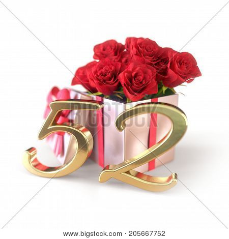 birthday concept with red roses in gift isolated on white background. 3D render - fifty-second birthday. 52nd