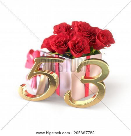 birthday concept with red roses in gift isolated on white background. 3D render - fifty-third birthday. 53rd