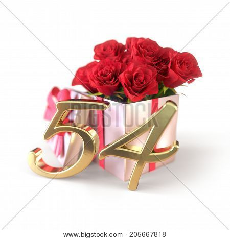 birthday concept with red roses in gift isolated on white background. 3D render - fifty-fourth birthday. 54th