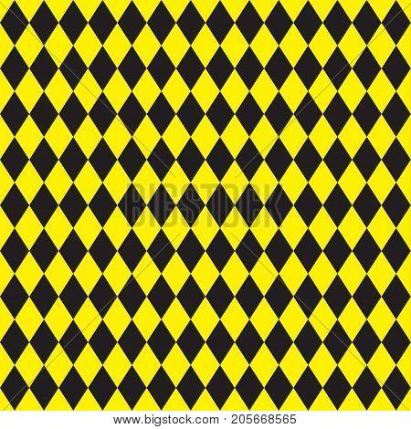 Seamless yellow and black argyle pattern background.