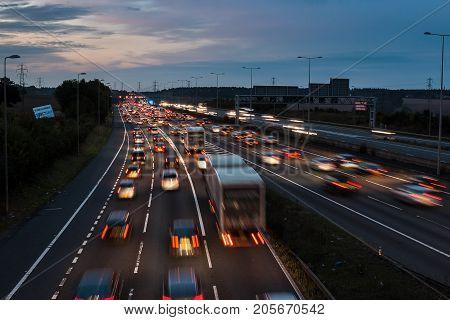 Watford UK - September 24 2017: Evening traffic jam on British motorway M1.M25/M1 junction.