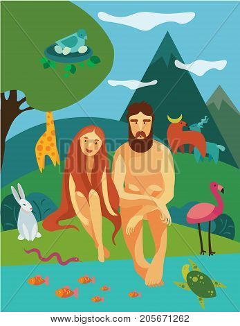 Illustration of Adam and Eva near the river in Eden Garden, surrounded by animals
