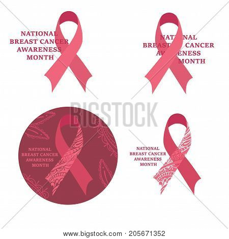 National Breast cancer awareness month. Breast Cancer Awareness Ribbon collection. Breast Cancer Awareness design.