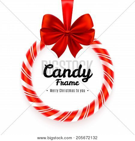 Realistic circle Candy frame with red bow and ribbon isolated on white background. Christmas banner or poster template. Sweet decoration for Christmas tree. Vector illustration