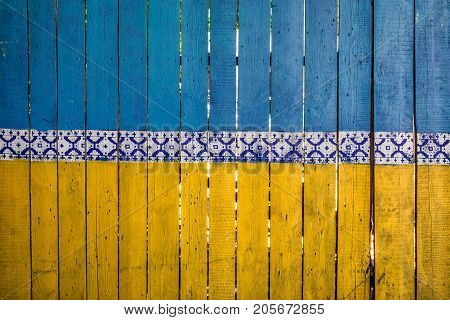 Fence colored like ukranian fence at Kiev, Ukraine.