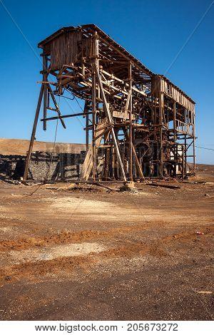 Salt transportation cableway shed in Pedra de Lume. Sal Island. Cape Verde