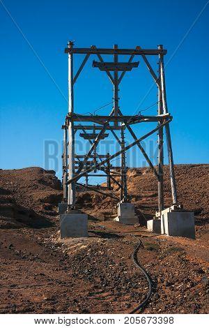 Wooden transportation cableway in salt mine.Cape Verde Africa