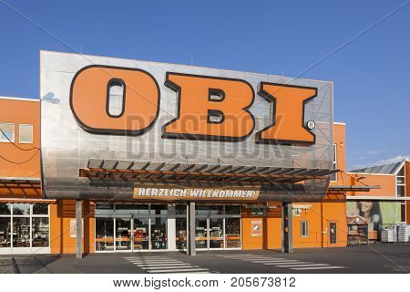 Frankfurt Germany - Sep 3 2017: The OBI market in Frankfurt Main Germany. Obi is the largest hardware and do-it-yourself retailer in Germany