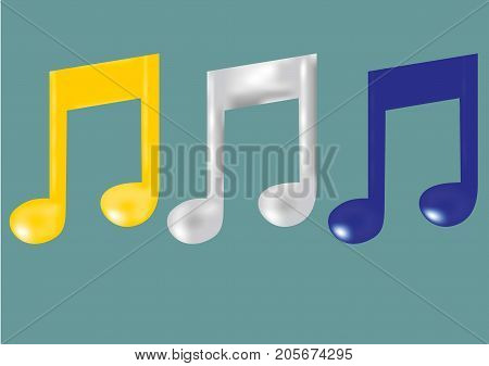 Colorful melody signs. Blue, white and yellow.