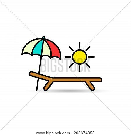 Chaise-longue color icon. Deck-chair sun and umbrella on a beach. Relax travel vacation symbol. Vector.