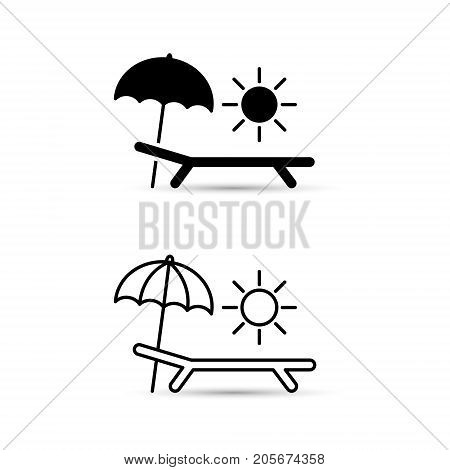 Chaise-longue line icon. Deck-chair sun and umbrella on a beach. Relaxation travel vacation symbol. Vector.