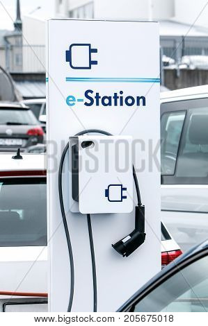 Electric and hybrid car charging station .