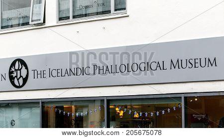 Reykjavik Iceland August 25 2017: Sign for the Icelandic Phallological Museum.