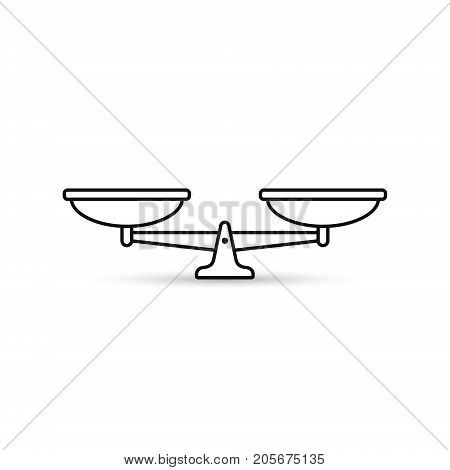 Scales outline icon. Vector black scale illustration.