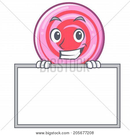Grinning with board cute lollipop character cartoon vector illustration