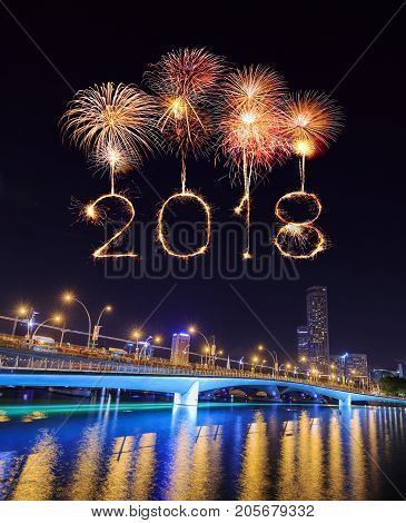 2018 Happy New Year Firework With Jubilee Bridge At Night, Singapore