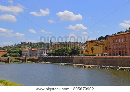 View of Ponte Vecchio bridge in Florence or Firenze.