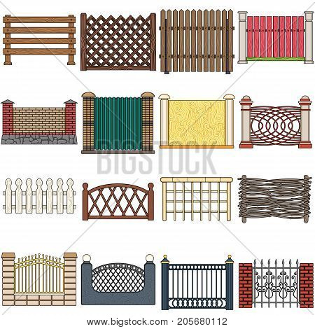 A fence of metal and bricks, wooden palisade and other varieties. A different fence set collection icons in cartoon style vector symbol stock illustration .