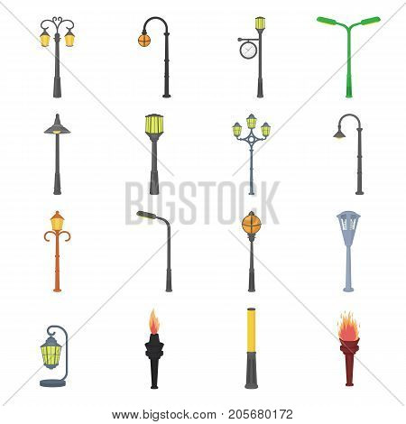 Lamppost in retro style, modern lantern, torch and other types of streetlights. Lamppost set collection icons in cartoon style vector symbol stock illustration .