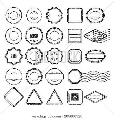 Monochrome grungy Postal Stamps set in different shapes without text. Template collection of Black Postal Stamps. Isolated vector illustration.