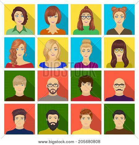 Appearance of the girl in glasses, a guy with a hairdo, a bald man with a beard and other varieties of face. Faces and appearance set collection icons in flat style vector symbol stock illustration .