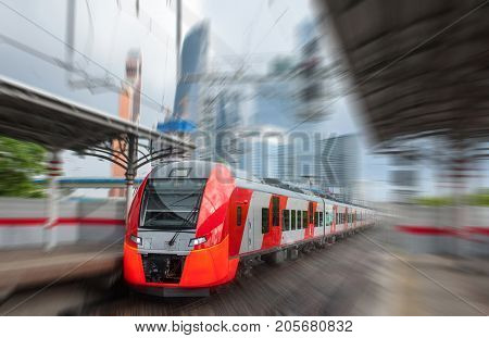 The electric train rushes at a high speed