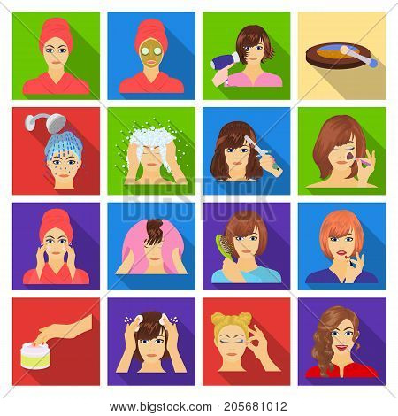 Salon, cosmetic, hairdresser and other  icon in flat style. Attire, cosmetology, hygiene, icons in set collection.
