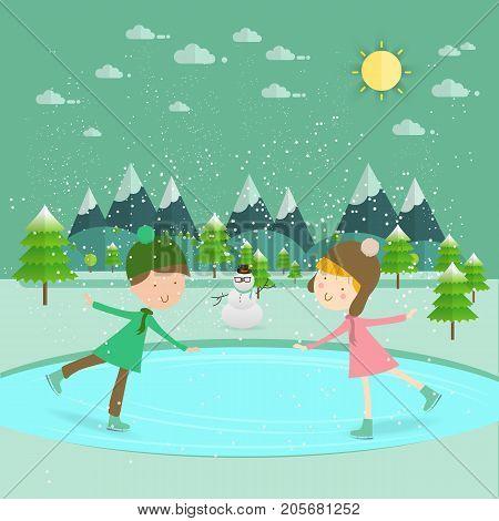 Illustration of kids having fun in the winter skating rink/Children ice skate/Children boy and girl on the winter ice-skating rink